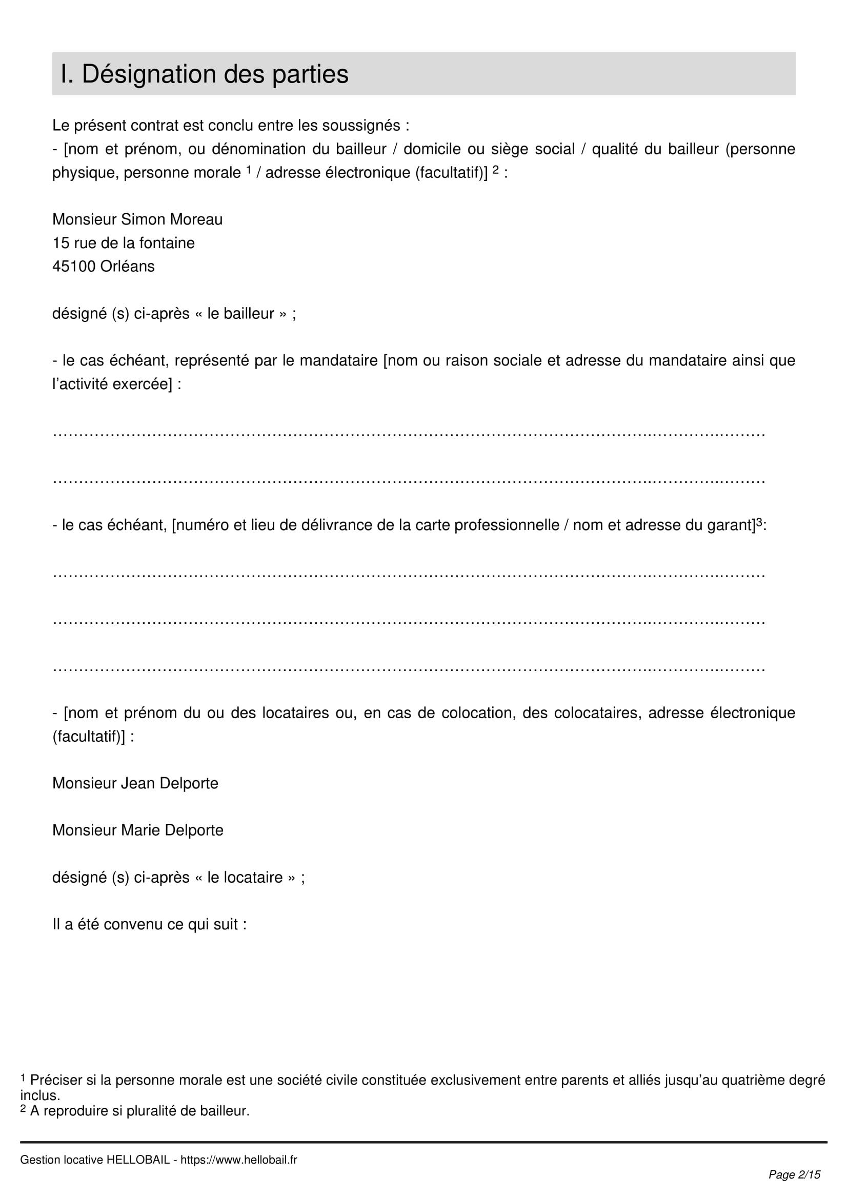 contrat de location page 2