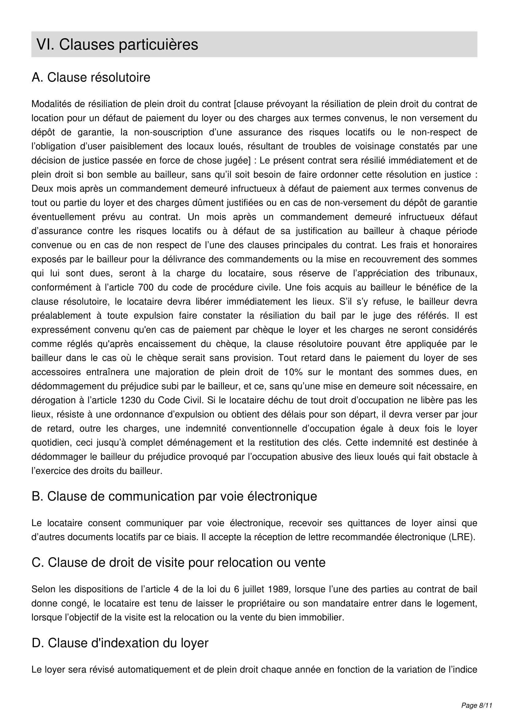 Modèle Bail Mobilité Contrat De Location Courte Durée De 1