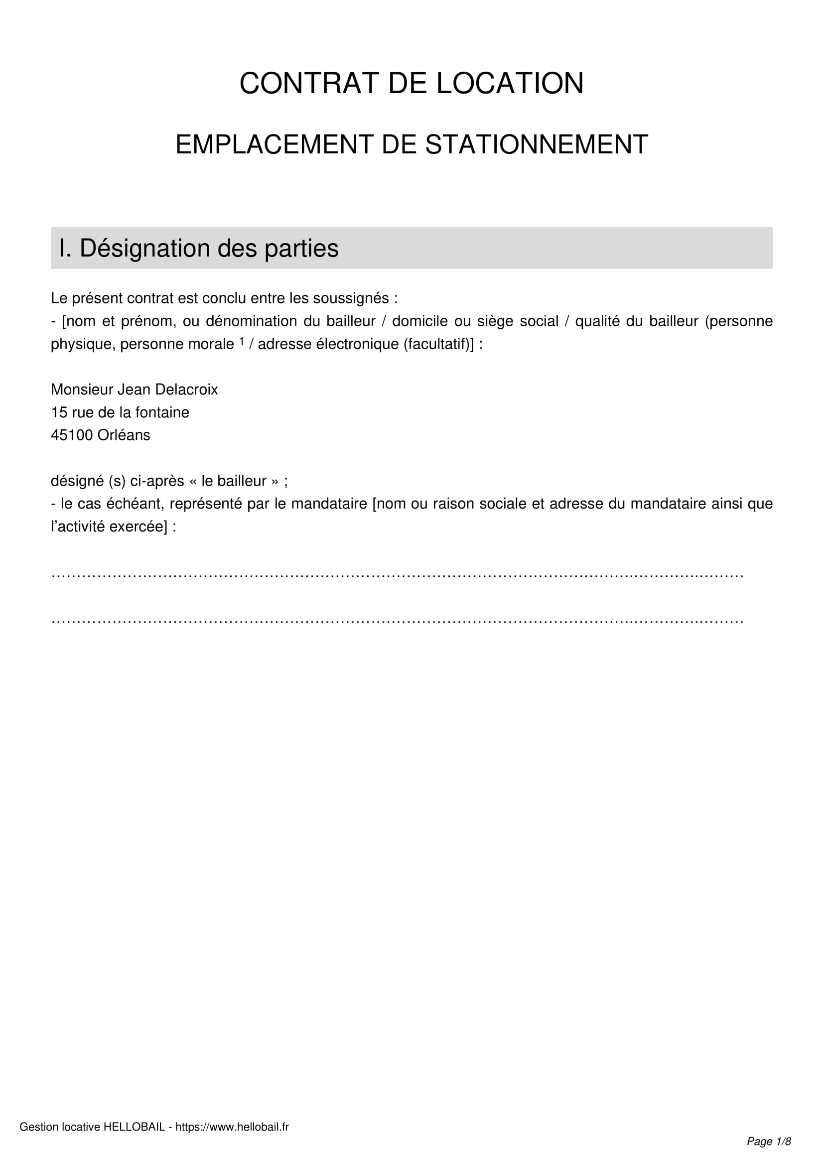 mod u00e8le de contrat de location parking  garage ou box
