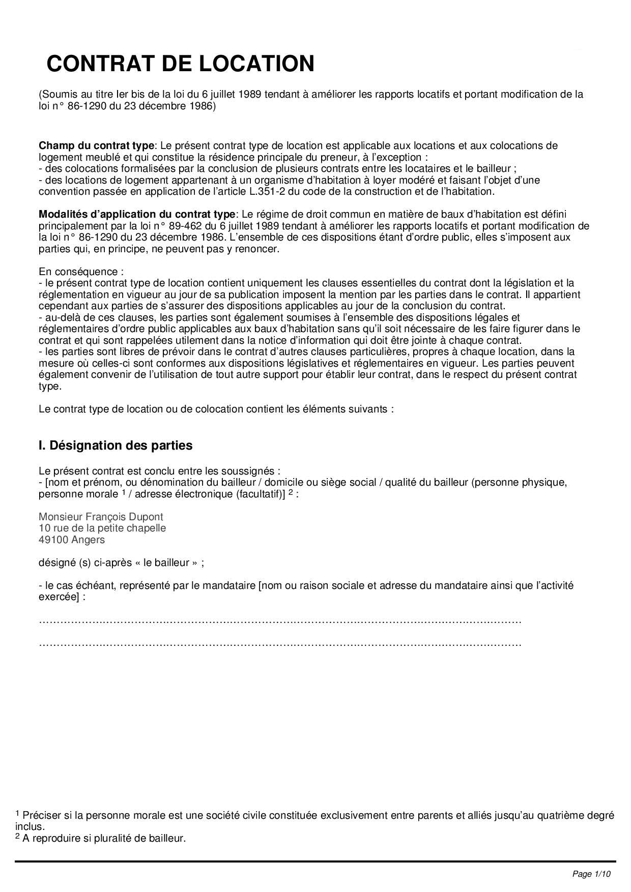 Contrat de location type bail de location pdf hellobail for Bail maison location