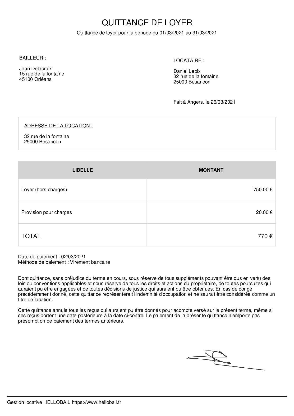 Quittance de loyer PDF et WORD : modèle à télécharger et imprimer