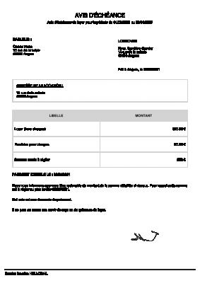 Avis D échéance De Loyer Modèle Type